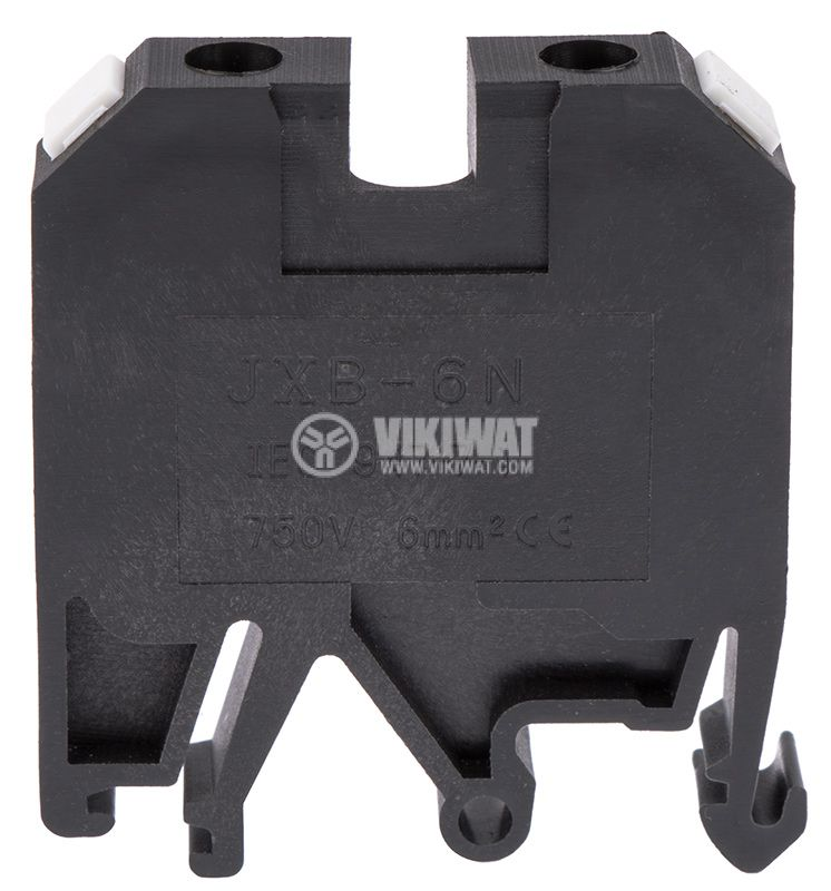 Terminal block JXB-6/35 6mm2, 41A, 800V, black, plastic - 2