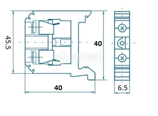 Редова клема, едноредова, SAK 4/EN, 4mm2, 32A, 800V, синя - 3