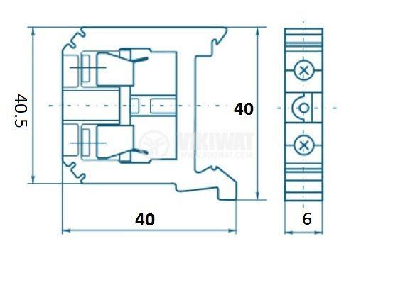 Редова клема, едноредова, JXB-2.5/35, 2.5mm2, 24A, 800V, бежова - 2