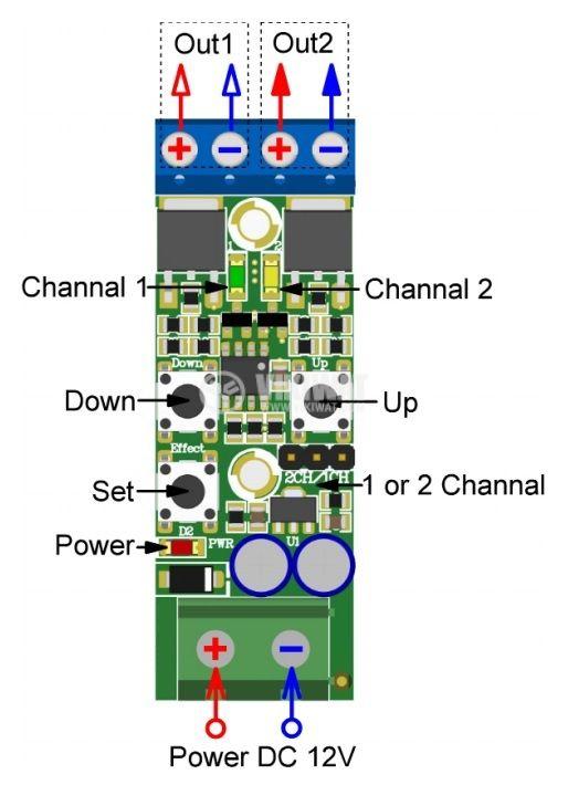 Управление за LED осветление, 2 канала, 12VDC, 13 светлинни ефекта - 5