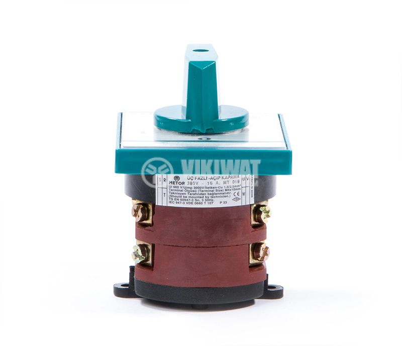 Rotary cam switch, 16А, 380VAC, 2 sections, 3 contacts, 2 positions, Metop - 6