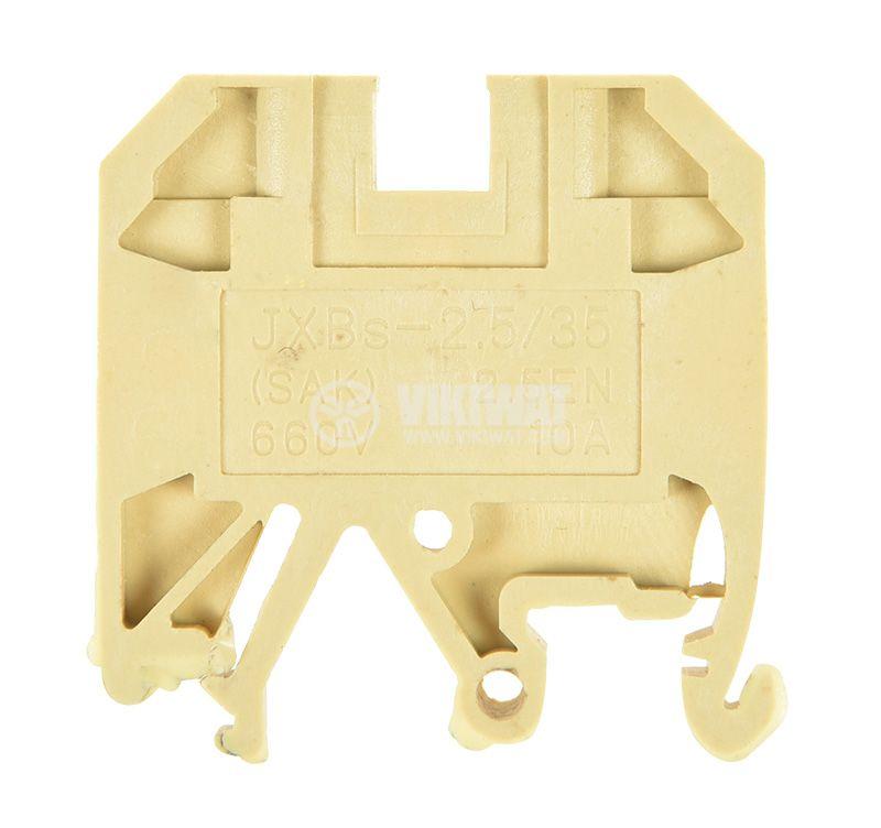 Редова клема, едноредова, JXBs-2.5/35, 2.5mm2, 10A, 660V, жълта - 2