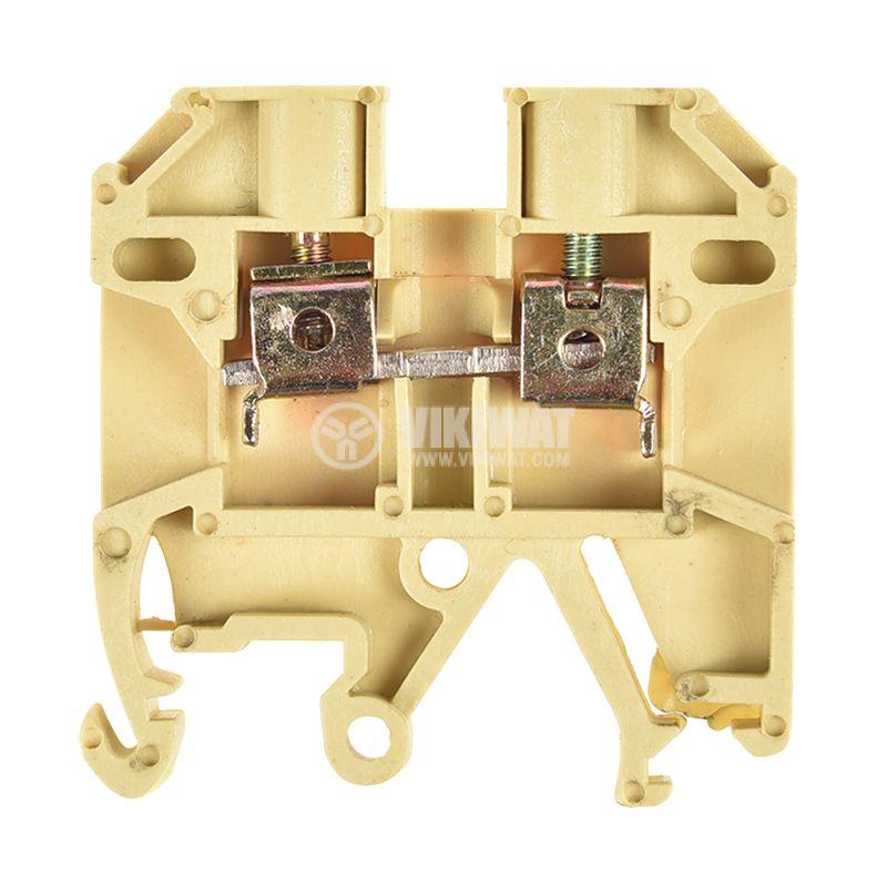 Редова клема, едноредова, JXBs-2.5/35, 2.5mm2, 10A, 660V, жълта - 1