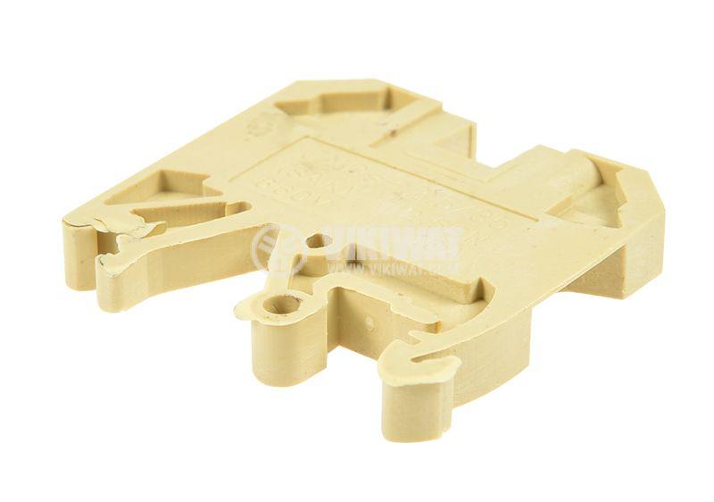 Редова клема, едноредова, JXBs-2.5/35, 2.5mm2, 10A, 660V, жълта - 3