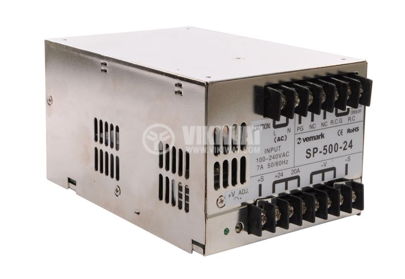 Switching power supply 24VDC, 20A, 480W, IP20, S-500-24 - 2