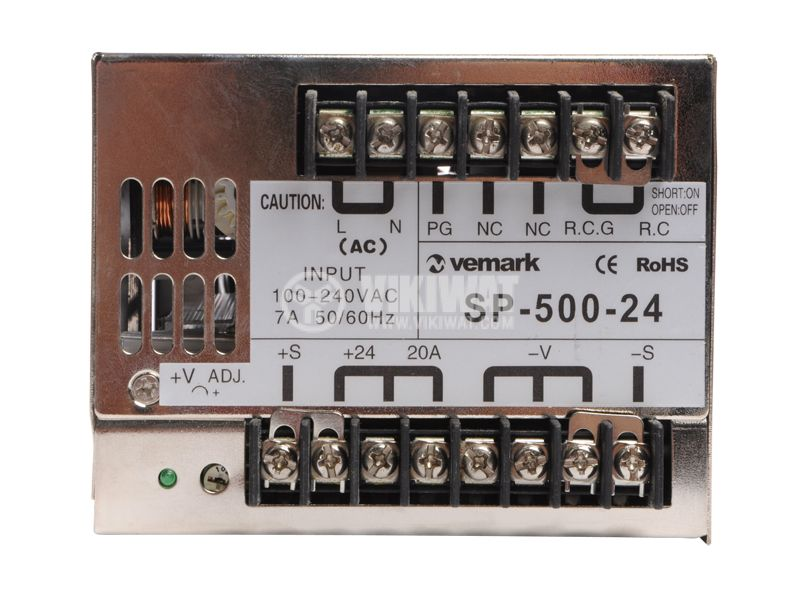 Switching power supply 24VDC, 20A, 480W, IP20, S-500-24 - 3