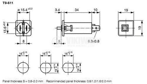 Токов изключвател 240 VAC, 48 VDC, 6 A контакти SPST, SNAP-IN, на панел  - 3