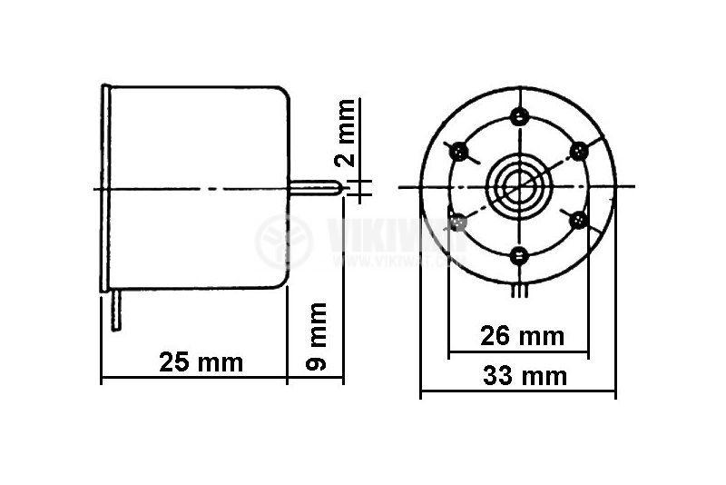 Електрически  постояннотоков мотор MMI - 6S6R,  9 VDC, R - 2