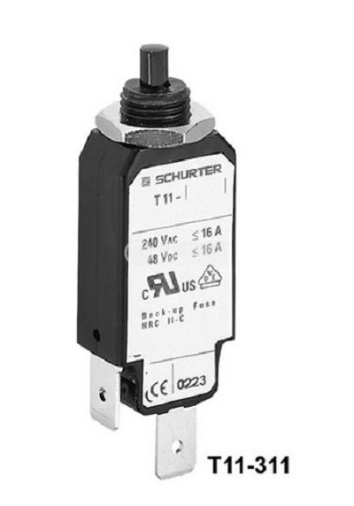 Resettable Thermal Circuit Breaker T11-311-10A, 240 VAC, 48 VDC  - 1