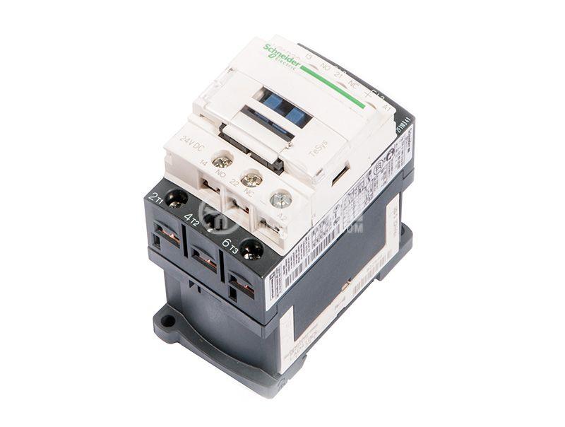 Contactor, LC1D09BD, 3P, 9A, 24VDC, 2.2kW, 4kW, NO + NC - 1