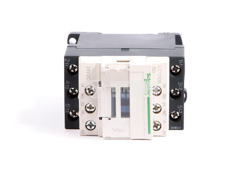 Contactor, LC1D09BD, 3P, 9A, 24VDC, 2.2kW, 4kW, NO + NC - 3
