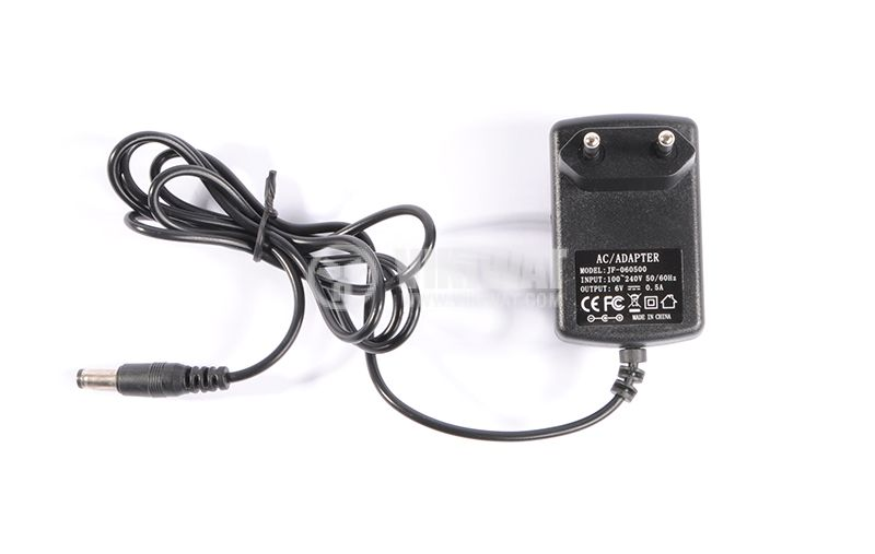 Adapter 100-240 VAC to 6 VDC, 0.5 A, 5.5 x 2.5 mm - 3