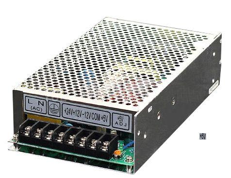 Quad output switching power supply 24VDC/2A, 12VDC/2A, -12VDC/1A, 5VDC/8A, 120W, IP20, VT-120D