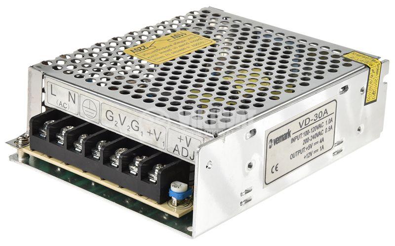 Захранващ блок с 2 изходни напрежения 12VDC/1A, 5V/4A, 32W, IP20, VD-30A - 1