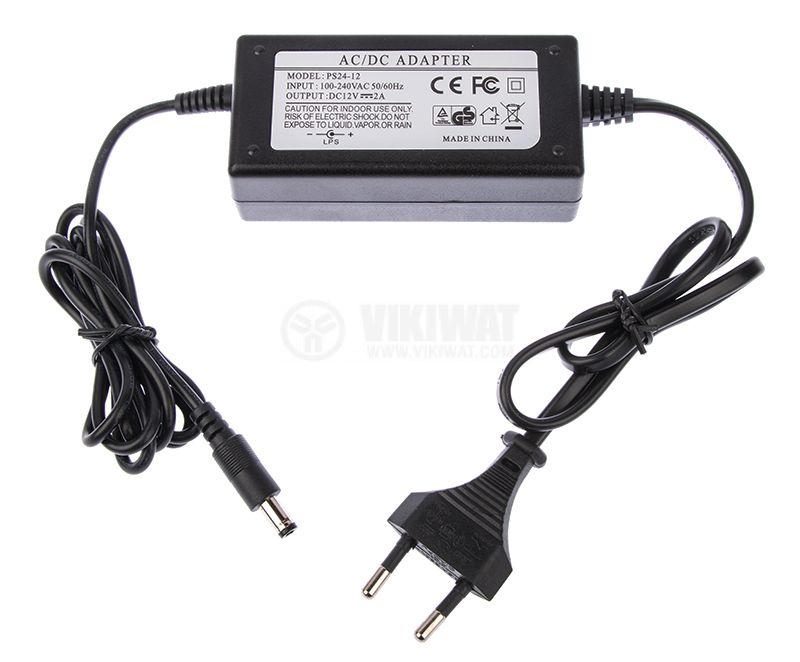 Power adapter PS24-12, 12VDC, 2A, 24W, 100-240VAC, 5.5x2.5mm, stabilized - 2
