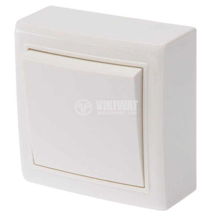 SIngle electrical switch, 250 V/AC, 10 A, white, LEXA MI-RK1, surface mount