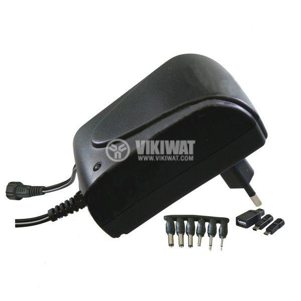 Adapter, MW3N15GS, 220 VAC-3/4.5/5/6/7.5/9/12 VDC, 1.5 A - 2