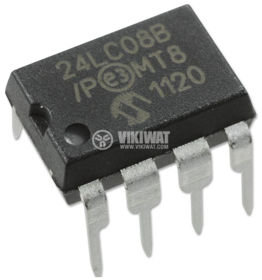 Интегрална схема 24LC08B-I/P 8kbit DIP8 400kHz I2C 0.005s