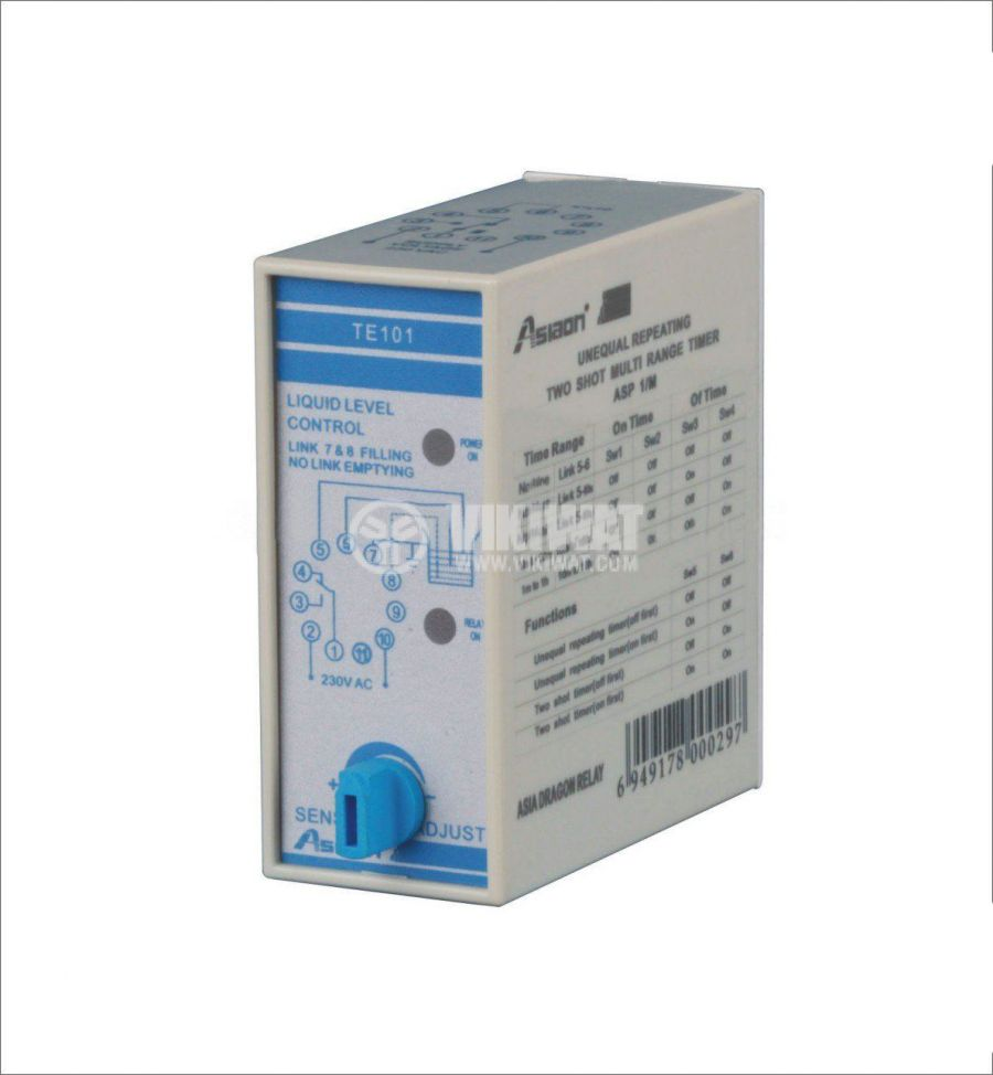 Liquid Level Controller AS-TE101, 220 VAC, NC + NO - 1