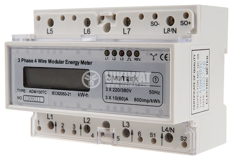 Three phase meter ADM100TC, electronic 3x10 A (60 A) direct 230/380 VAC, LCD display - 2