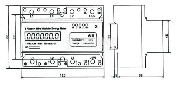 Three phase meter ADM100TC, electronic 3x10 A (60 A) direct 230/380 VAC, LCD display - 6