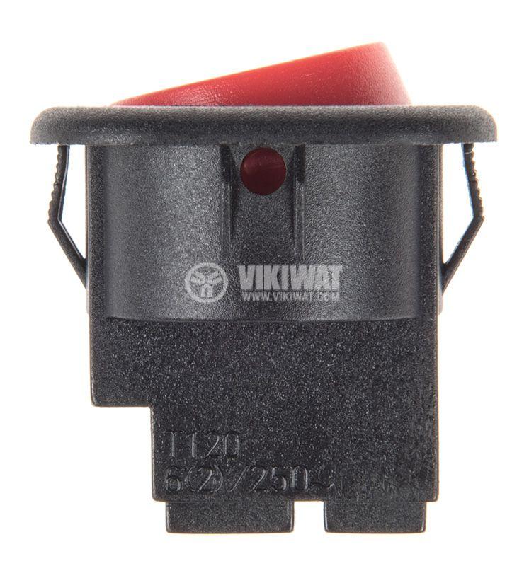 Rocker превключвател, 2 позиции, OFF-ON, 6A/250VAC, отвор ф20mm - 2