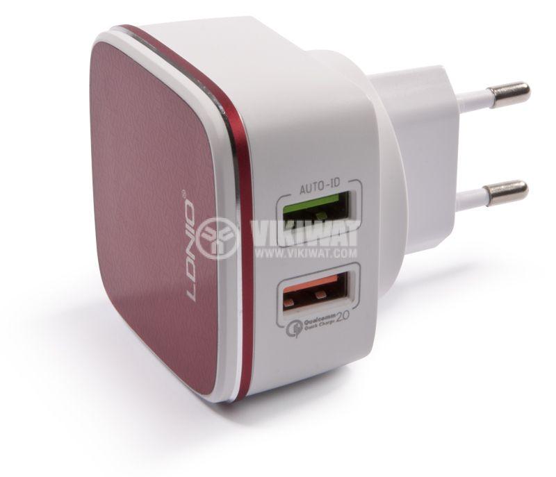 Зарядно устройство 220VAC, LDNIO A2405Q, с Micro USB - 1