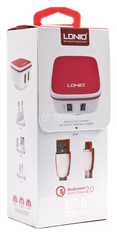 Зарядно устройство 220VAC, LDNIO A2405Q, с Micro USB - 4
