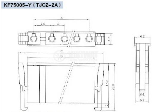 Конектор за обемен монтаж женски, VF75005-2Y, 2 пина - 2