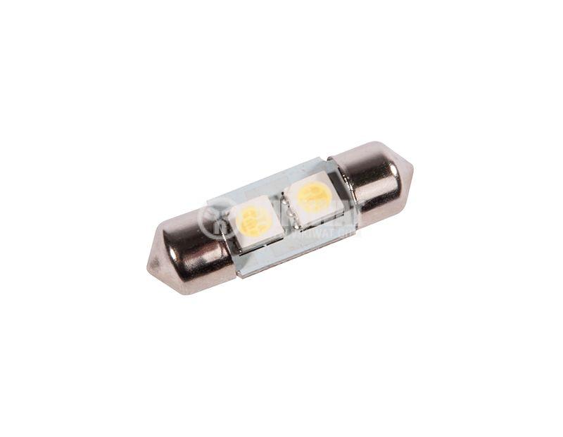 Auto LED festoon lamp, 12VDC, 2LED, SV8.5 - 1