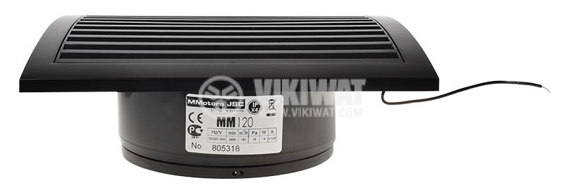 Bathroom fan, Ф120mm with valve, 220VAC, 18W, 150m3 / h, MM120 with internal rotor, square, black - 4