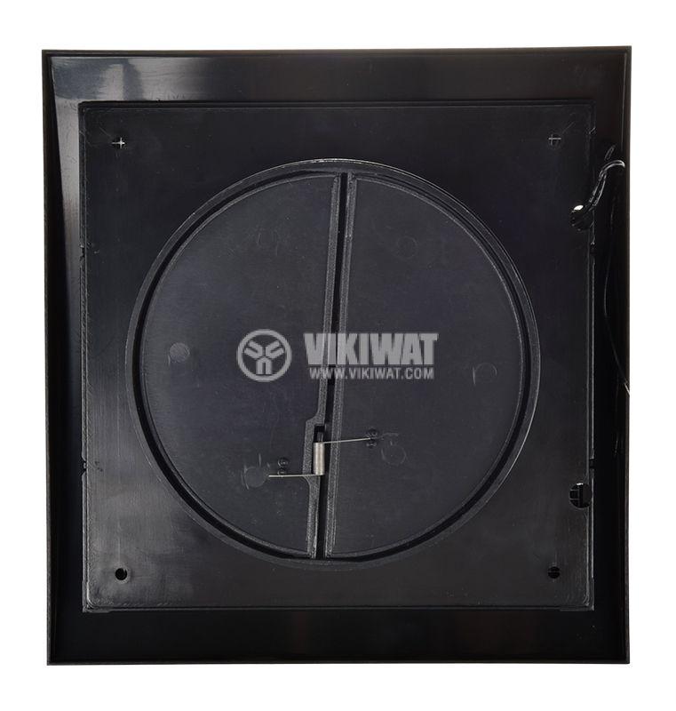 Bathroom fan, Ф120mm with valve, 220VAC, 18W, 150m3 / h, MM120 with internal rotor, square, black - 5