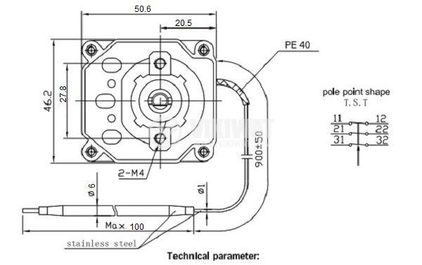 Терморегулатор, капилярен, WY90-653-28TH, от +30°C до +90°C, 3NC, 16 A / 380 VAC - 3