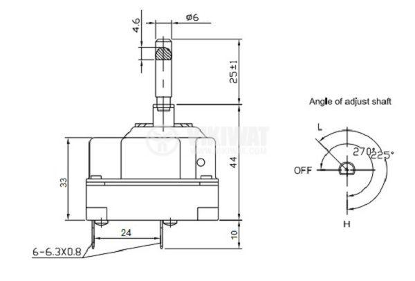 Терморегулатор, капилярен, WY90-653-28TH, от +30°C до +90°C, 3NC, 16 A / 380 VAC - 4
