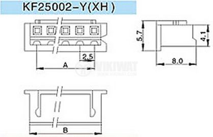 Конектор за обемен монтаж женски, VF25002-6Y, 6 пина - 2
