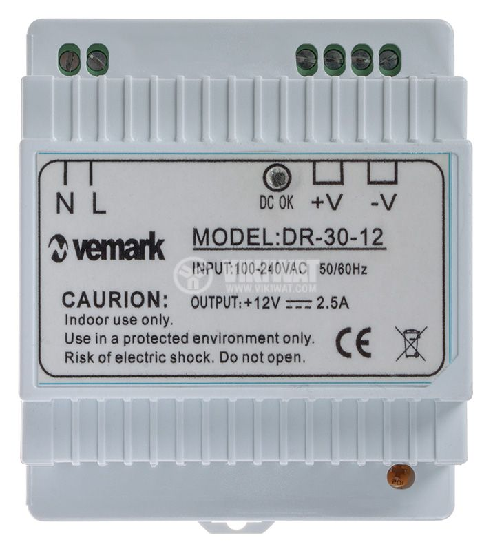 Switching power supply for DIN rail 12VDC, 2.5A, 30W, VDR30-12 - 1