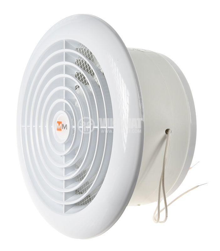 Bathroom fan, Ф120mm with valve, 220VAC, 18W, 150m3 / h, MM120 with internal rotor, round, white - 2