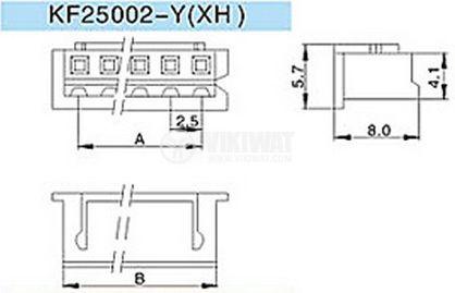Connector female, VF25002-3Y, 3 pins - 2