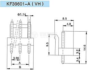 Конектор за печатен монтаж мъжки, VF39601-4A, 4 пина - 2