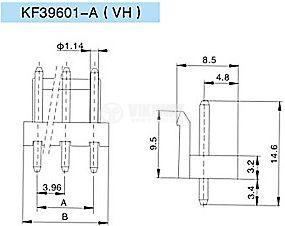 Конектор за печатен монтаж мъжки, VF39601-3A, 3 пина - 2