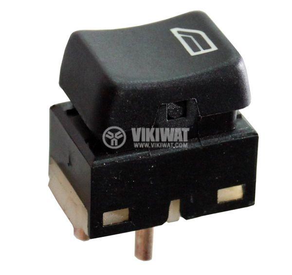 Клавишен превключвател rocker ASW-03, 20 A/12 VDC, ON-OFF-ON, DPDT, светещ черен – автомобилни стъкла - 1
