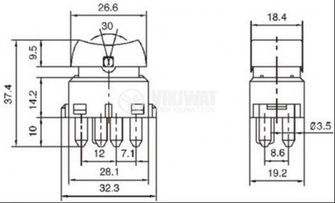 Клавишен превключвател rocker ASW-03, 20 A/12 VDC, ON-OFF-ON, DPDT, светещ черен – автомобилни стъкла - 2