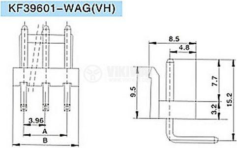 Конектор за печатен монтаж мъжки, VF39601-3 WAP,VF39601-3 WAG, 3 пина - 2