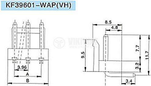 Конектор за печатен монтаж мъжки, VF39601-3 WAP,VF39601-3 WAG, 3 пина - 3
