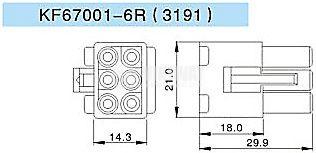 Конектор за обемен монтаж мъжки, VF67001-6R, 6 пина - 2