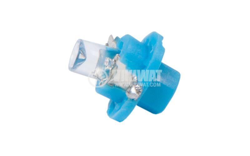 Автомобилна LED лампа 12 VDC, BX8.4D, синя - 1