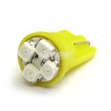 Автомобилна лампа LED, W2.1x9.5d, 12 VDC, 4 светодиода, жълта