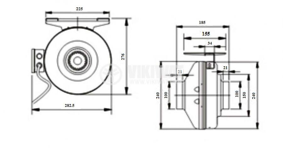 Centrifugal pipe fan VWR100, 220VAC, 64.1W, 220m3/h - 6