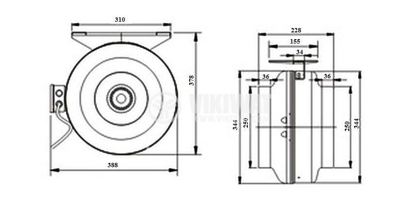Вентилатор, промишлен, тръбен, VWR250, 220VAC, 155W, 850m3/h, Ф250mm - 7