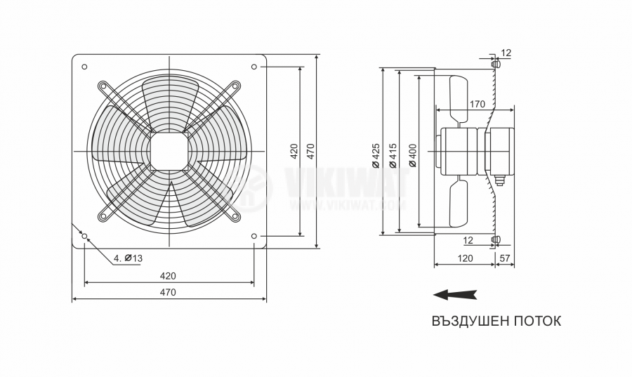 Fan, industrial, axial Ф400mm, 4800m3 / h, 180W, FDA-4E-400B, 220VAC - 2